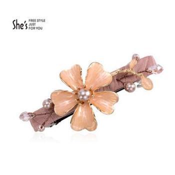 shes发饰品 手工滴油花朵合金盘发弹簧夹 马尾横夹半发顶夹发夹SHP9301359