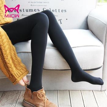 猫人秋冬加绒加厚外穿暖宫隐形一体踩脚打底裤黑色弹力修身保暖裤女