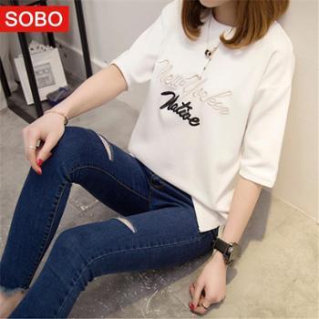 SOBO夏季新款韩版刺绣字母短袖宽松圆领T恤女半袖上衣A381