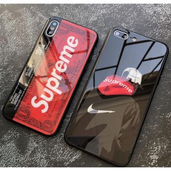 superme潮牌苹果X手机壳情侣个性iPhone6plus创意7p玻璃新款8男女