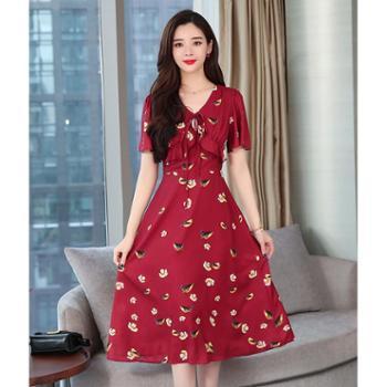 百旅BailvV领碎花长裙夏季女装新款雪纺连衣裙收腰显瘦冷淡风仙女红裙