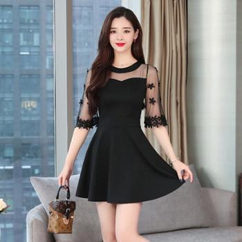 百旅Bailv流行新款小心机连衣裙显瘦小黑裙性感女装网纱冷淡风裙子夏装