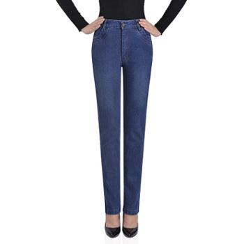 百旅Bailv夏季新款妈妈装高腰小直筒弹力透气修身薄款牛仔长裤