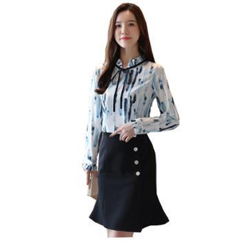 百旅Bailv雪纺衫女秋季新款女装印花长袖时尚系带上衣洋气衬衣