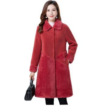 百旅Bailv加厚大衣女中长款时尚显瘦翻领微弹气质颗粒绒大衣外套