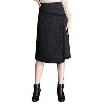 百旅Bailv毛呢百褶裙女高腰半身裙外穿a字蓬蓬裙黑色显瘦短裙