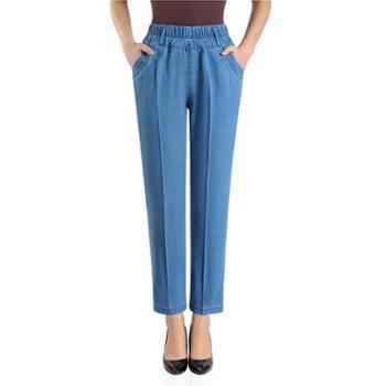 百旅Bailv夏季松紧腰薄款女式大码弹力直筒牛仔裤