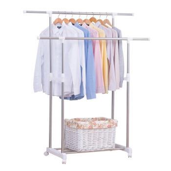 友利特 晾衣架落地伸缩不锈钢双杆式室内晒衣架 加长款8023