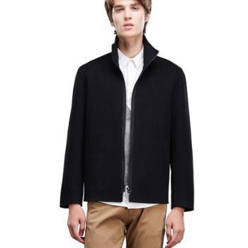 JJ Moda 韩版黑色商务拉链毛呢短外套