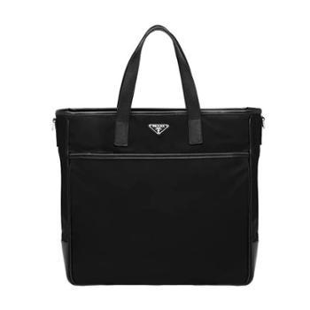 Prada普拉达 黑色尼龙中性款购物袋手提单肩包2VG032-064-F0002