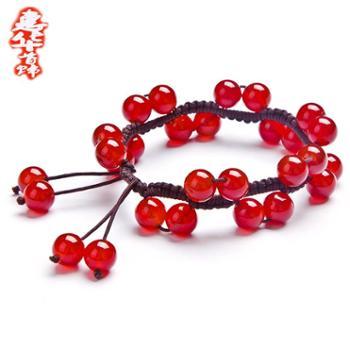 2016热卖时尚饰品新天然红玛瑙手链女款日韩送女友的半宝石水晶