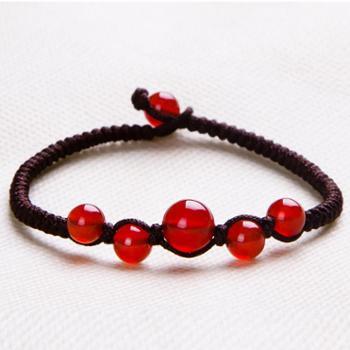 新品饰品女单圈天然玛瑙红绳子的手链编织绳简约情侣礼品手串