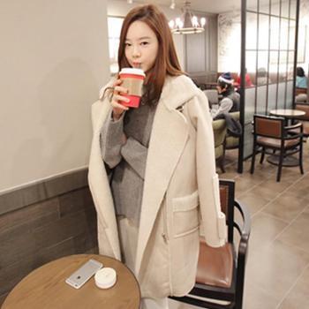 韩域丹依娜冬装新款韩国秋冬大码女装时尚宽松休闲中长款羊羔绒大衣外套学生