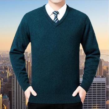 寻爵男式毛衣羊绒衫2017冬季男士V领毛衣男士商务毛衫中