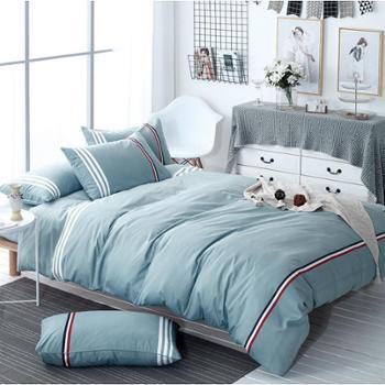 诗蒂芬2017轻薄款简约四件套套件 活性印染纯色床单被套四件套床上用品