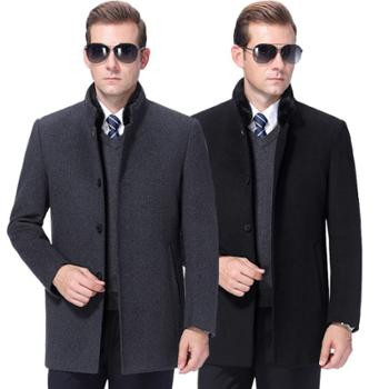 寻爵羊绒大衣男中长款水貂领加厚中老年羊毛呢外套