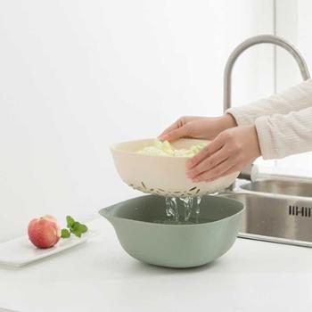 创意双层塑料水果盆洗水果沥水篮家用水果篮洗菜篮厨房洗菜盆