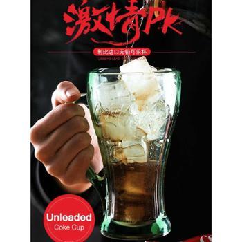 进口无铅可口可乐杯玻璃杯果汁杯啤酒杯翠绿色429ml