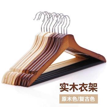 大号10个复古木质衣架服装店挂衣架防滑成人衣架衣撑子衣柜实木衣服架