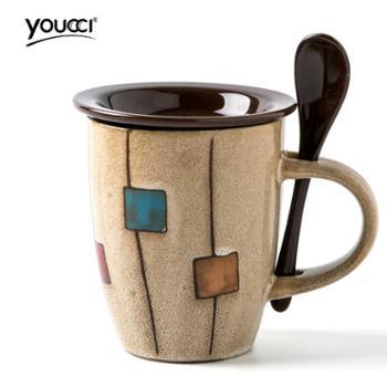youcci悠瓷创意陶瓷杯子马克杯简约牛奶杯咖啡杯家用水杯带盖勺