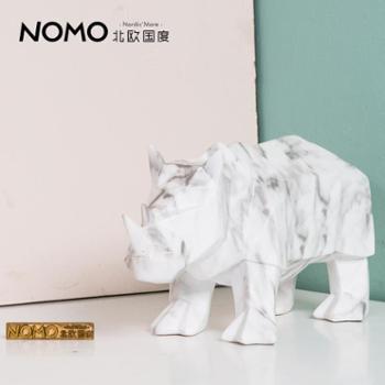 北欧国度利勒摩大理石纹树脂动物工艺品摆件犀牛装饰品摆设