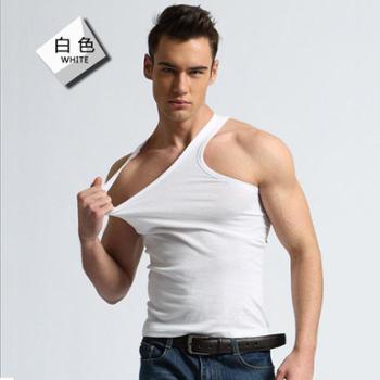 【2件价】男士棉背心修身型健美运动跨栏打底纯色棉汗背心男夏季