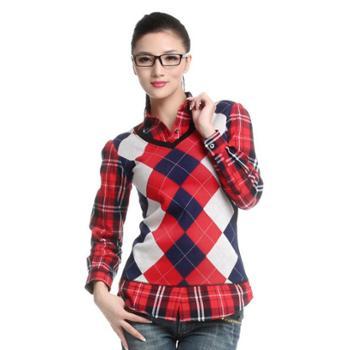 女士衬衫甜美苏格兰学院风格子针织假两件保暖衬衫 6600