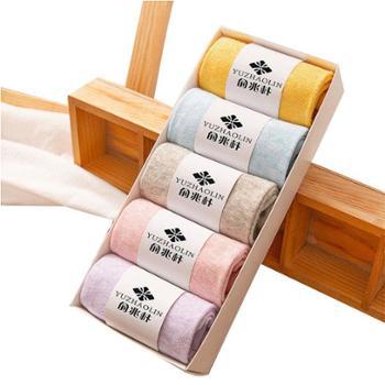 女士可爱甜美糖果色棉袜混纺五色五双礼盒装中筒袜 420866