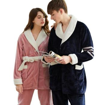 冬季情侣睡衣男女士法兰绒长袖开衫睡衣套可外穿家居服