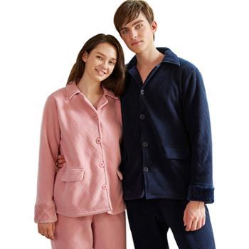 情侣冬加厚双层复合法兰绒长袖棉衣 男女可外穿格子贝贝绒睡衣家居服套