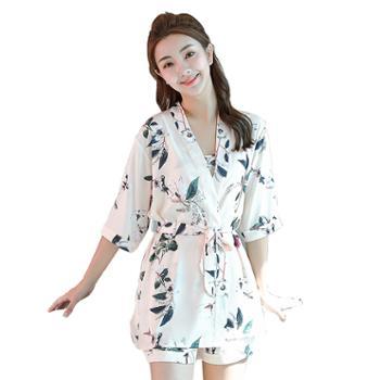【多色选】女士性感睡衣三件套女夏季薄款冰丝绸吊带套装