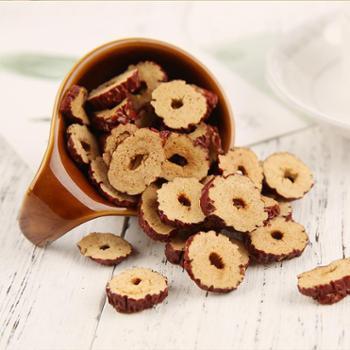 壳素红嘎嘣脆红枣片酥脆干吃泡茶枣片红枣圈125g*2袋
