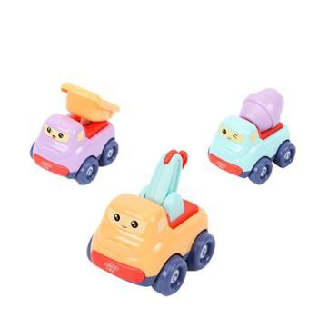 贝恩施惯性卡通车玩具套装 迷你款小汽车工程车耐磨耐摔无需电池