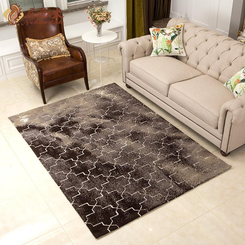 尼西米 简约美式地毯 北欧风格地毯 满铺客厅地毯 几何图案茶几垫2*2.