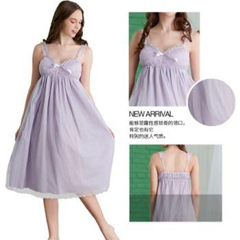 曼丝顿女士纯棉长睡裙睡衣活泼可爱双层网纱梭织全棉家居服睡裙