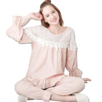 曼丝顿女士睡衣纯棉长袖梭织休闲韩版全棉家居服套装