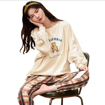 xoidol 睡衣女士秋季长袖纯棉韩版小熊可爱家居服套装 纯棉