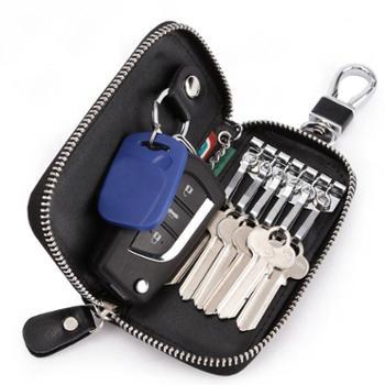 GRENGR/格兰爵箱包皮具钥匙包大容量拉链钥匙包男士腰挂真牛皮女卡包汽车多功能锁匙扣
