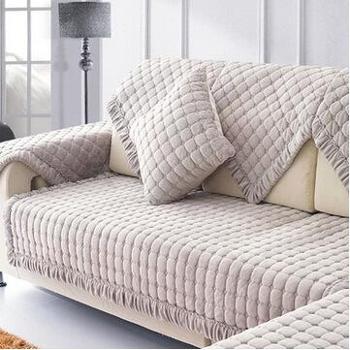欧式防滑皮沙发垫布艺时尚短毛绒坐垫沙发套巾罩冬季加厚