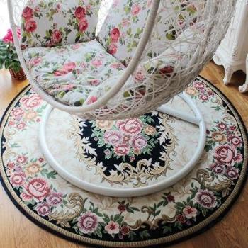 圆形欧式多尼尔提花地毯浴室防滑垫门垫客厅毯