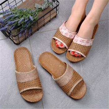 夏季室内男女家居凉拖鞋防滑厚底夏天情侣居家木地板亚麻托鞋家用