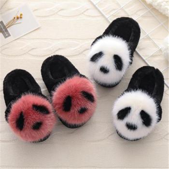 儿童棉拖鞋秋冬季保暖卡通熊猫拖鞋宝宝室内居家防滑男童女童软底