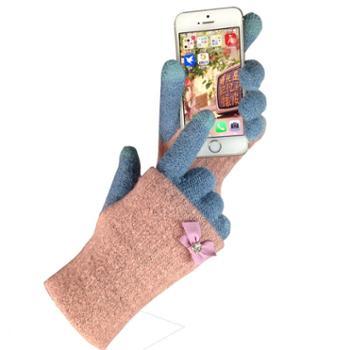 分指针织触屏手套女士秋冬加厚双层保暖韩版学生可爱半指骑车冬天