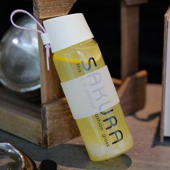 日式樱花个性时尚女士玻璃水瓶创意简约字母透明防烫隔热提绳杯子