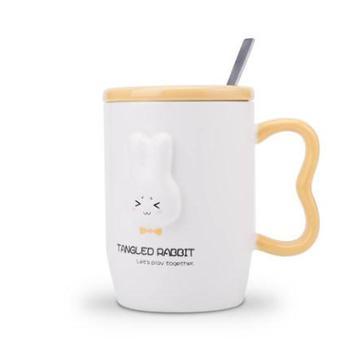 韩版潮流可爱陶瓷杯子带盖勺马克杯咖啡牛奶杯情侣水杯创意女学生黄色大耳兔