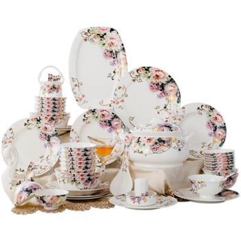 【陕西晟木电子】碗碟套装家用 景德镇陶瓷器骨瓷餐具碗盘瓷碗中式吃饭碗碗筷组合