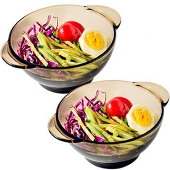 2件套北欧茶色玻璃碗米饭碗双耳沙拉碗麦片碗甜品碗礼盒套装