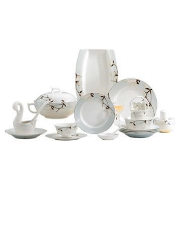 碗碟套装家用景德镇欧式陶瓷餐具碗筷骨瓷吃饭盘子简约组合黄金边