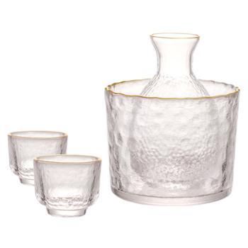 闪闪优品清酒杯酒壶套装日式锤纹金边玻璃酒具冰酒温酒器白酒小杯
