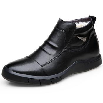 FXXG1936韩版时尚冬季男鞋加绒棉鞋百搭休闲高帮拉链皮靴薄棉棉靴